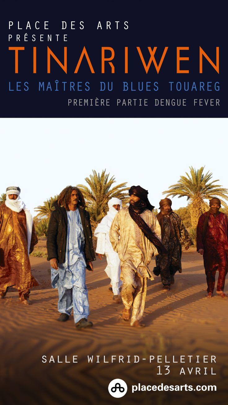 TINARIWEN, PLACE DES ARTS, à la Cinquième Salle le 13 avril 2017. Tinariwen, c'est un groupe de renommée mondiale, fier représentant de la musique du monde avec ses sonorités envoûtantes teintées de blues et de rock, directement issues du nord-ouest de l'Afrique. Tinariwen puise son inspiration dans les racines touaregs de ses membres : c'est une musique nomade, du désert, qui reflète les quêtes d'un peuple qui arpente les dunes depuis des millénaires.