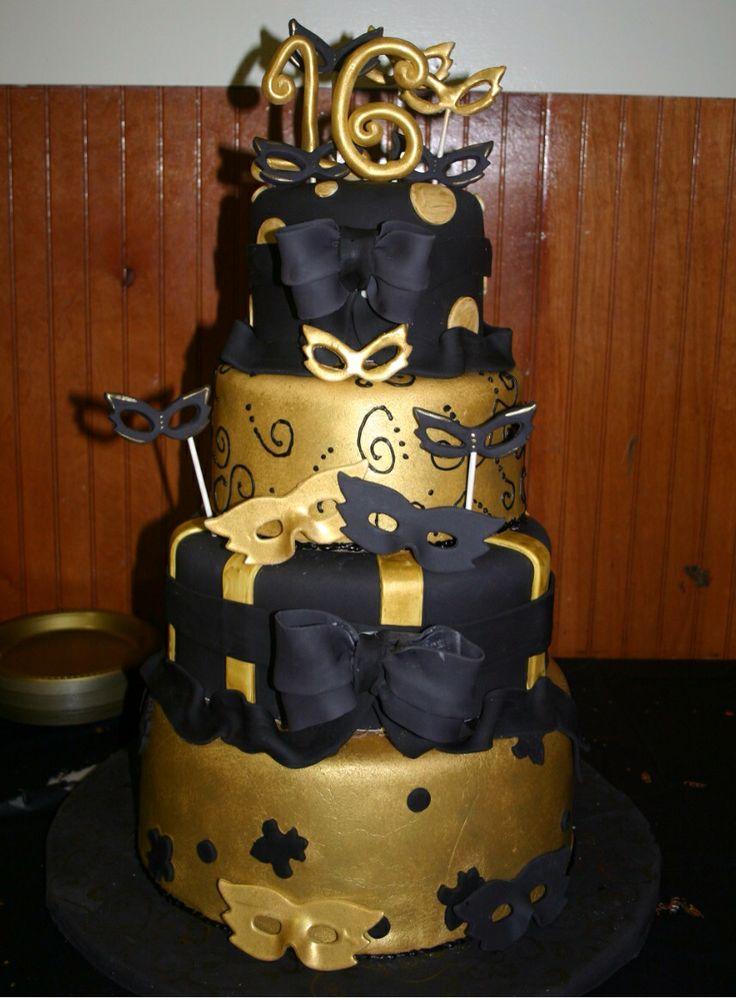 Sweet Sixteen Gold N Black Cake Sweet Sixteen Baby