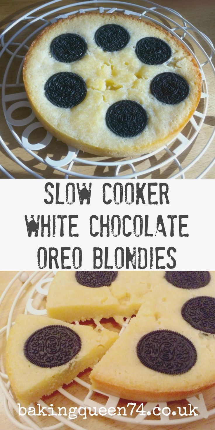 Slow cooker white chocolate Oreo blondies - so fun to bake and a delicious treat