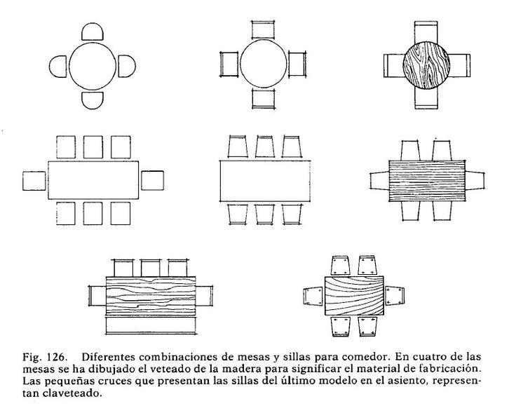 Representacion de mesas sillas y comedores en planta para - Mesas de arquitectura ...