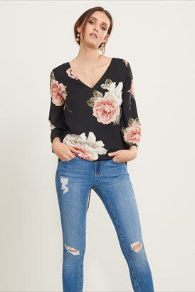 Bell Sleeve Blouse with Lace-Up Back