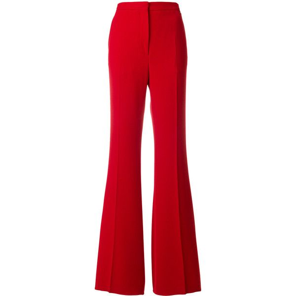 Rochas flared high-waisted trousers ($702) ❤ liked on Polyvore featuring pants, red, high waisted flared pants, high waisted trousers, red trousers, high-waist trousers and high rise flare pants