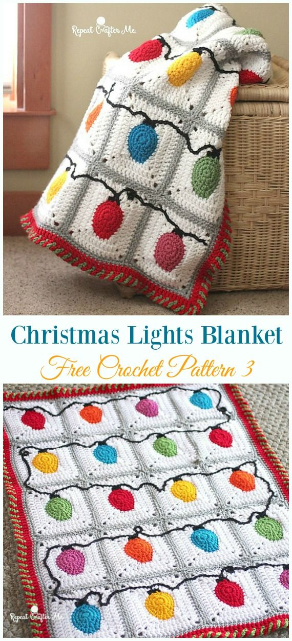 Christmas Lights Blanket Throw Crochet Free Pattern – Holiday #Throw; Blanket Fr…