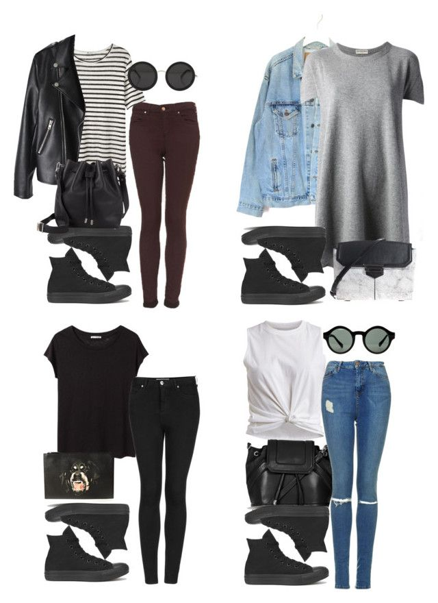 """outfits with all black converse"" by style-by-gabriella ❤ liked on Polyvore featuring Converse, Levi's, Balenciaga, VILA, Topshop, T By Alexander Wang, Acne Studios, Proenza Schouler, Alexander Wang and Givenchy"