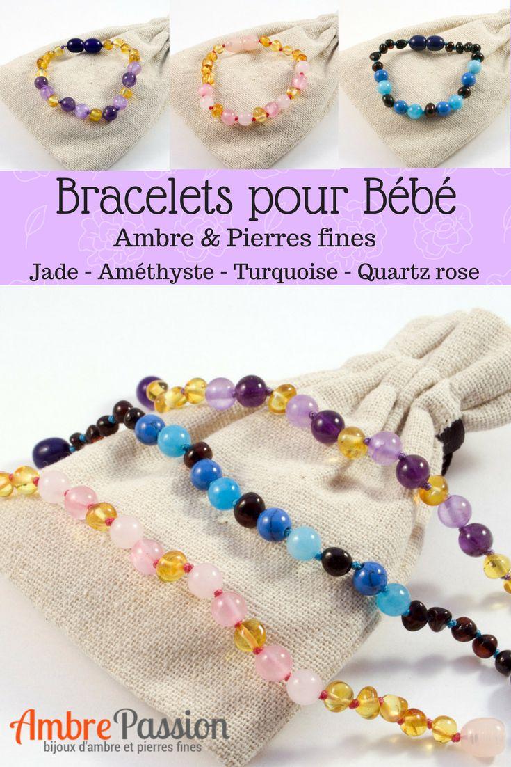 Bracelets pour bébé #bracelet #ambre #améthyste #quartz #turquoise #gemmes