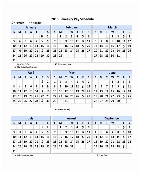 40 Biweekly Pay Schedule Template In 2020 With Images Calendar