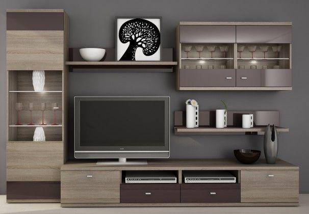Enova - Obývací stěna (dub truffle / bazalt lesk)