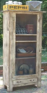 PRIMITIVE jelly cupboard kitchen shabby country very rustic antique white