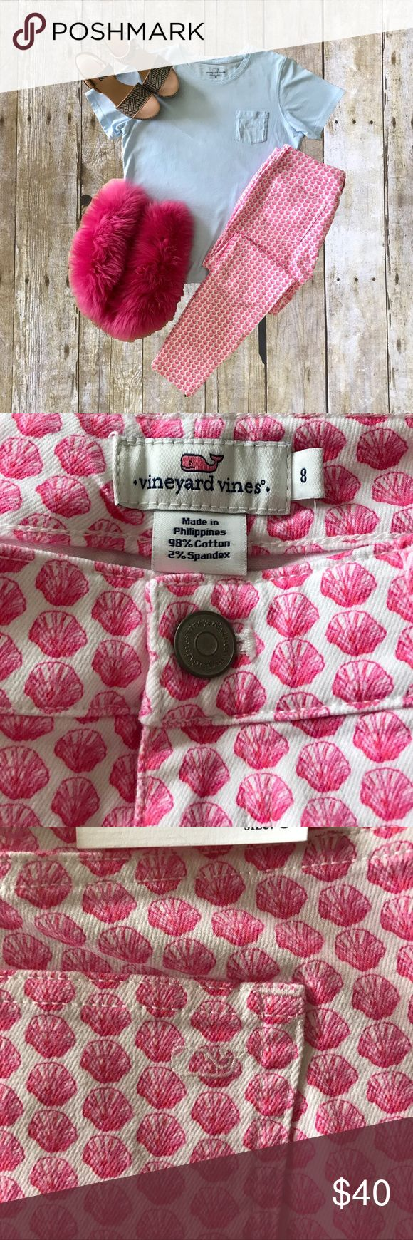 NWT Vineyard Vines Outlet Nantucket Ankle Jeans 8 NWT. All over shell  print. Pink on white. 100% Cotton, 2% Spandex.  Ankle length. Vineyard Vines Jeans Ankle & Cropped