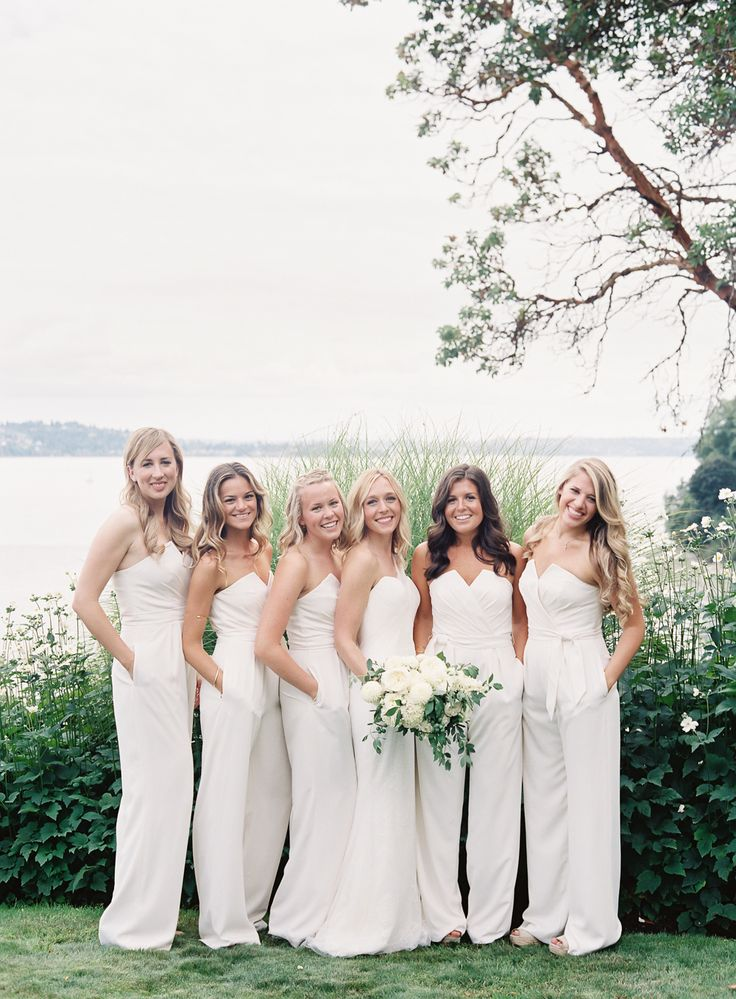 Gorgeous bridesmaids in white jumpers!