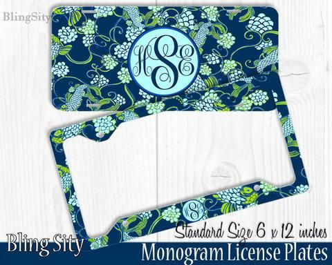 mint koi fish monogram license plate frame metal front tags personalized custom