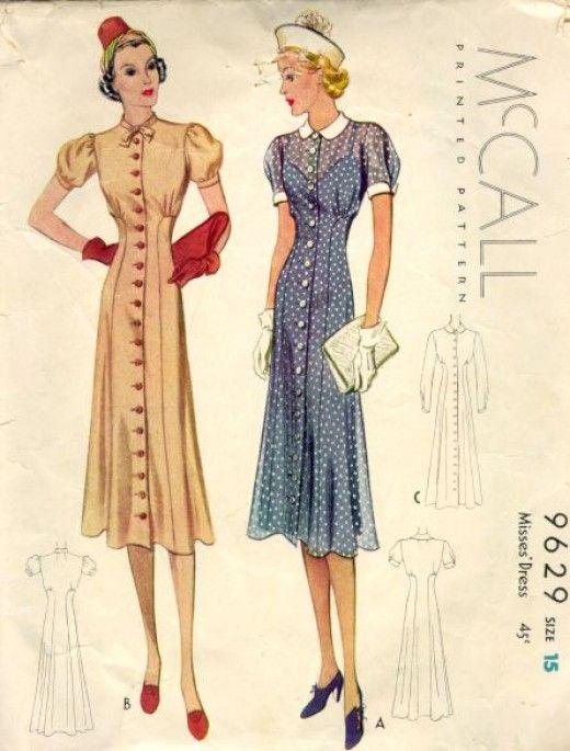 1930s womens fashion   MCcalls 1938 women dresses.