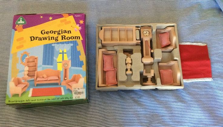 ELC Georgian Drawing Room WOODEN furniture set GRANDFATHER CLOCK DAYBED BOOKCASE