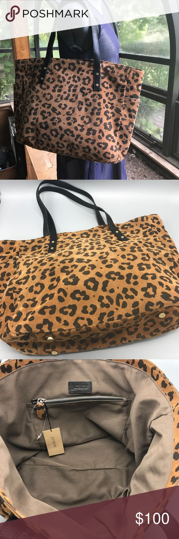 J CREW NEWSSTAND TOTE IN LEOPARD SUEDE - SO SOFT! Super stylish NEW WITH TAG - J Crew Newsstand suede tote in leopard print. Black leather handles. Exterior pockets on both ends with magnetic closure (great size for cell phone). Three interior pockets - one large zippered, one cell phone and one other medium size pocket. Great overnight travel bag. J. Crew Bags Totes