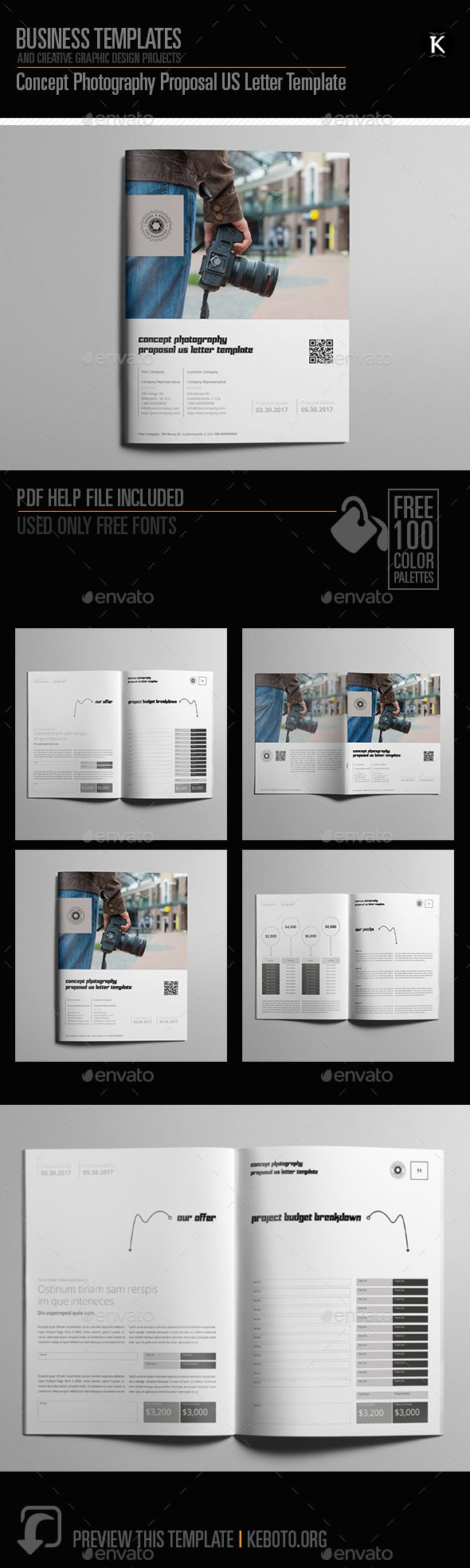 Concept Photography Proposal US Letter Template - #Proposals & Invoices Stationery