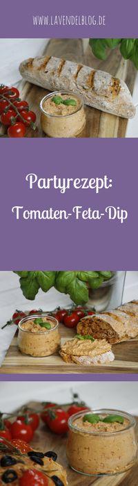 Dip Rezept: Dip mit Tomaten und Feta und dazu Baguette ist ein gutes Partyrezept. Der Tomaten-Feta-Dip ist aber nicht nur super für ein Fingerfood-Buffet, sondern ist auch auch eine schöne Brunch-Idee oder als Dip zum Grillen geeignet. Das Diprezept findet ihr im Blog.