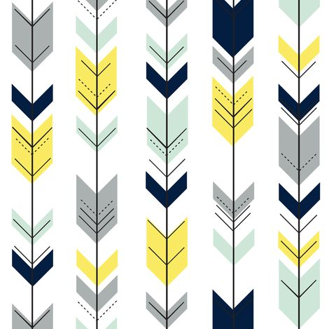 Fletching Arrows // navy/mint/grey/yellow (small scale) on white fabric by littlearrowdesign on Spoonflower - custom fabric