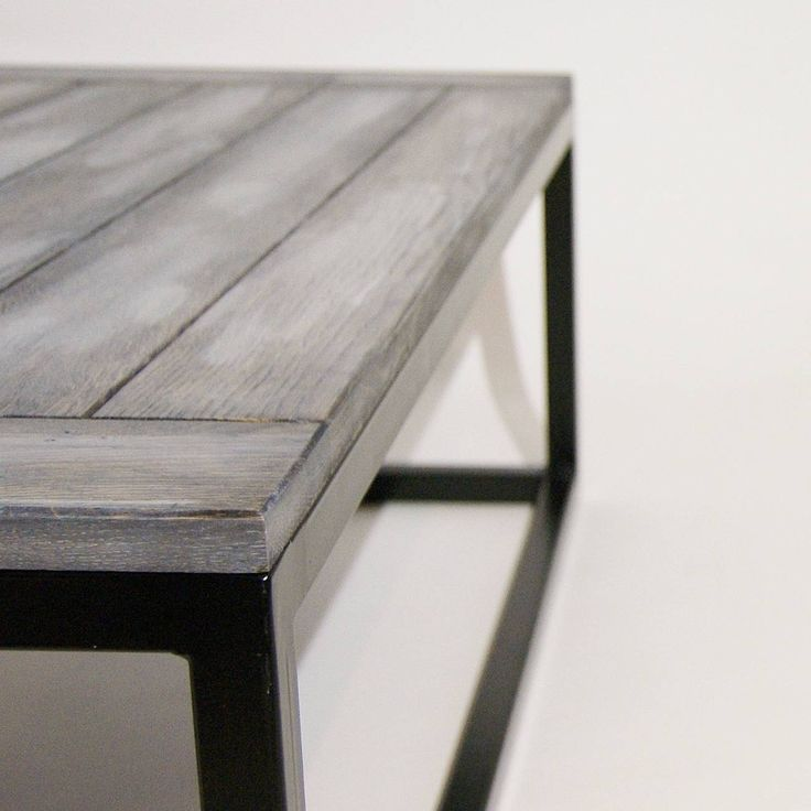 The minimalist design of this modern coffee table and the highest quality of craftsmanship fits perfectly into the mainstream modernist Scandinavian design.  Solid steel body has been powder coated and its structure is topped with milled oak table top covered with linseed based eco-oil (photos are showing transparent and black/white aged version).