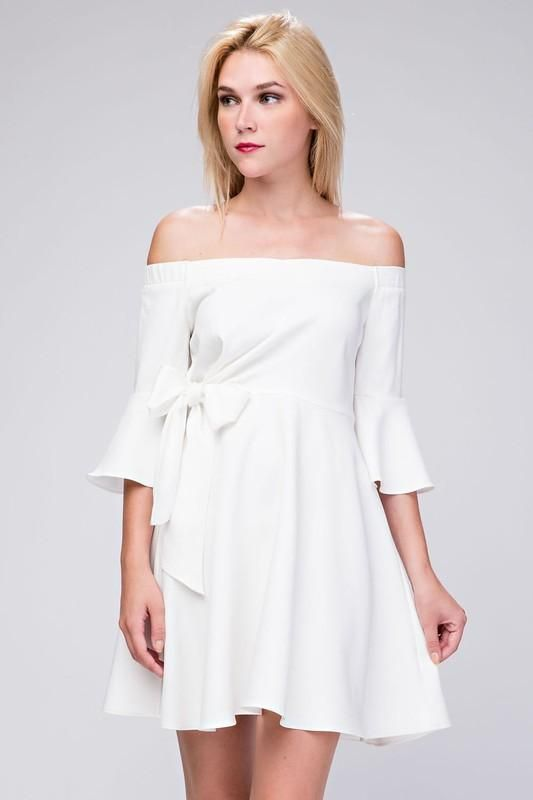 White Off Shoulder A-Line Dress with Bow