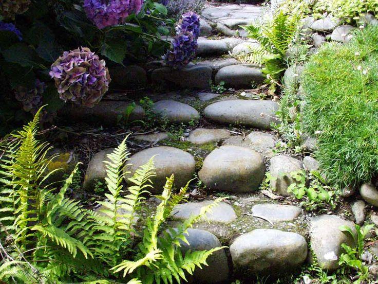river rock steps+ferns+hydrangeas+green moss: Gardens Ideas, Stones Step, Gardens Step, Rivers Rocks Stairs, Gardens Paths, Gardens Projects, Step Ferns Hydrangeas Green, Outdoor Step, Gardens Stairs