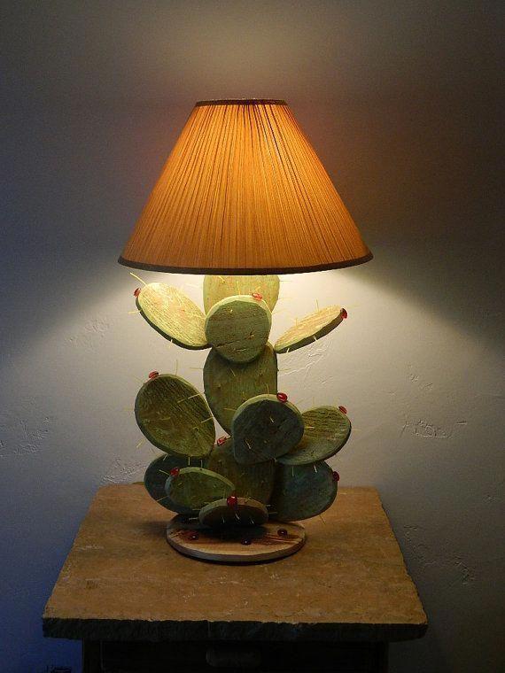 For Dar Etsy Desertgallery By David Bennett Of Tucson Az Prickly Pear Cactus Table Lamp 149 00 Uniquelamps In 2020 Cactus Lamp Decor Southwest Decor