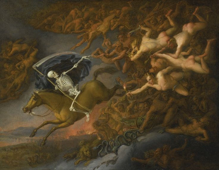 Death leading Hell's army.c.1800. Oil on Canvas. 65.4 x 81.9 cm.  English School.