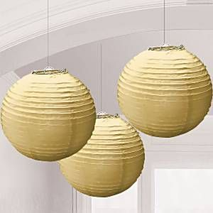 Gold Paper Lantern Decorations - 24cm