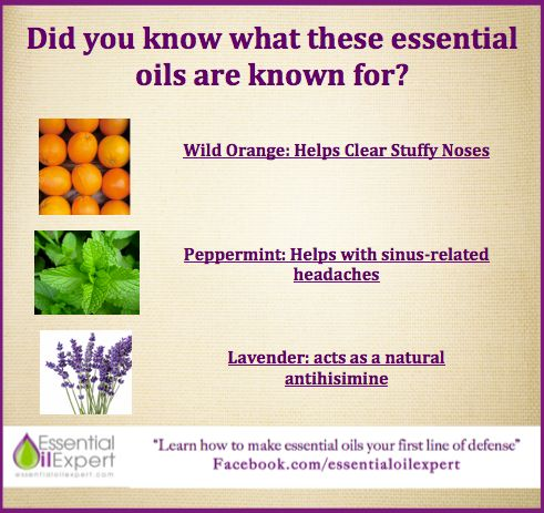 Wild orange: stuffy noses, Peppermint: sinus headaches ...