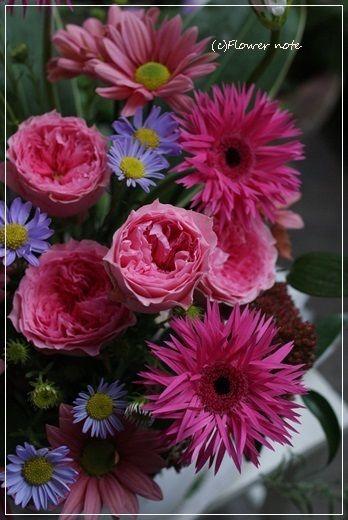 【今日の贈花】改装のお祝いはあたたかくハッピーな色で|Flower note の 花日記 (横浜・上大岡 アレンジメント教室)