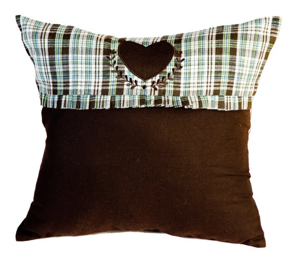 Small Heart Appliqued Pillow Mountains Heart by MonartHomeDecor, $35.00