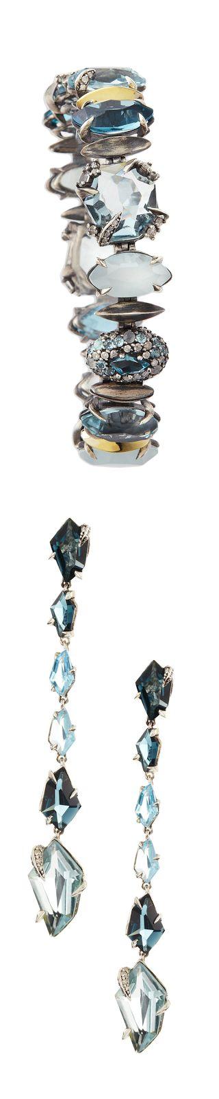 Alexis Bittar Fine Midnight Marquise Earrings with London Blue Topaz & Quartz