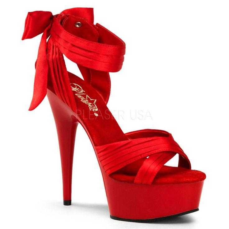 Красные сатиновые босоножки с плиссировкой, бантиком, застёжкой-молнией на заднике DELIGHT-668-RS, платформа, конусовидный каблук, удобная стелька