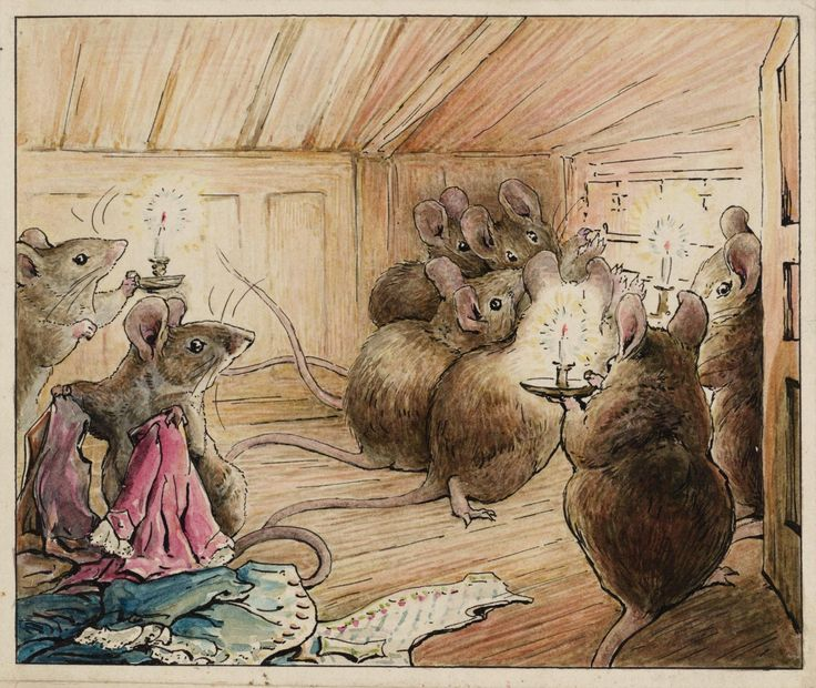 The mice hear Simpkin the cat prowling outside. From The Tailor of Gloucester by Beatrix Potter, 1902