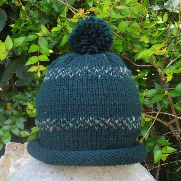 Green Hand Knitted Kids Beanie 6 - 12 years