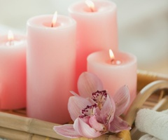 baby pink candles with flowers