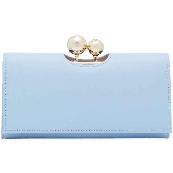 Ted Baker Harrien Leather Matinée Purse , Powder Blue ($115) ❤ liked on Polyvore featuring bags, wallets, powder blue, leather wallet, blue leather wallet, coin purse, kiss lock coin purse and change purse