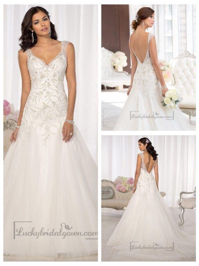 Elegant Beaded Cap Sleeves Sweetheart Embellished Wedding Dresses with Low V-back
