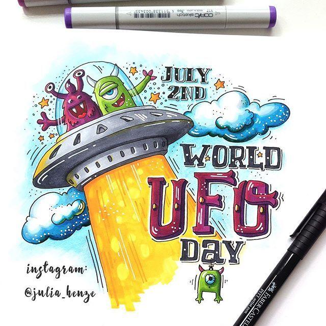 6/8 theme of the Summer Drawing Challenge arranged by Lisa Krasnova | @lisa.krasnova | Summer Holidays. I chose the World UFO day. Why not? У меня Международный День НЛО. Этот чудный праздник отмечается 2 июля. Эх, жаль, что я про него раньше не знала, обязательно бы отметила, как полагается #lk_sketchflashmob #ufo #worldufoday #summerholiday #art_markers #weirdholidays #strangeholidays #drawingchallenge #julia_henze #sketch #sketchflashmob #summer #summerflashmob #flashmob #handlet...