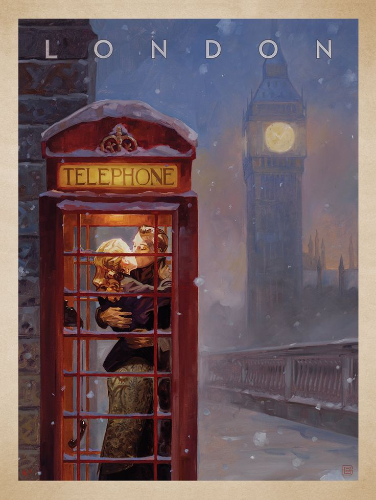 London Phone Booth - This series of romantic travel art is made from original oil paintings by artist Kai Carpenter. Styled in an Art Deco flair, this adventurous scene is sure to bring a smile and a smooch to any classic poster art lover!