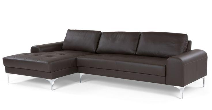 Vittorio Left Hand Facing Corner Sofa, Premium  Italian Deep Brown Leather