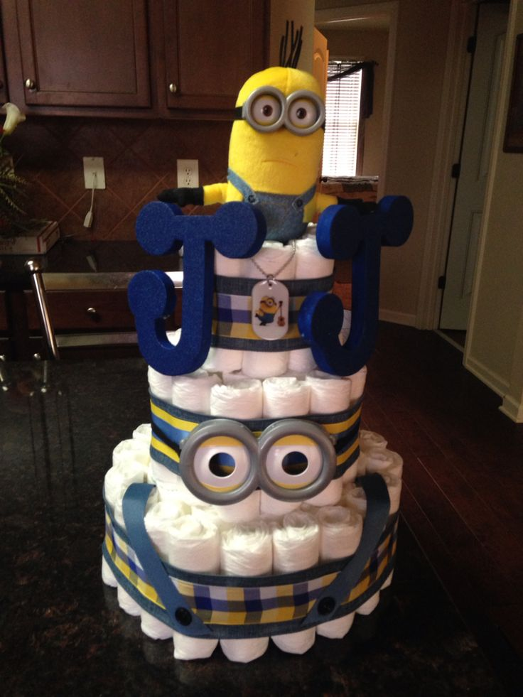 This is a Minion diaper cake that I created for a baby shower.