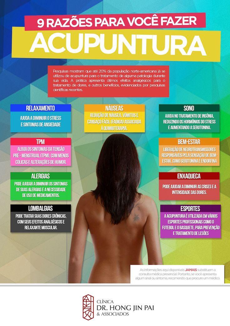 Infográfico Acupuntura 9 razões para você fazer acupuntura: Aprenda mais sobre alguns dos benefícios da acupuntura para sua saúde e como ela pode te ajudar.