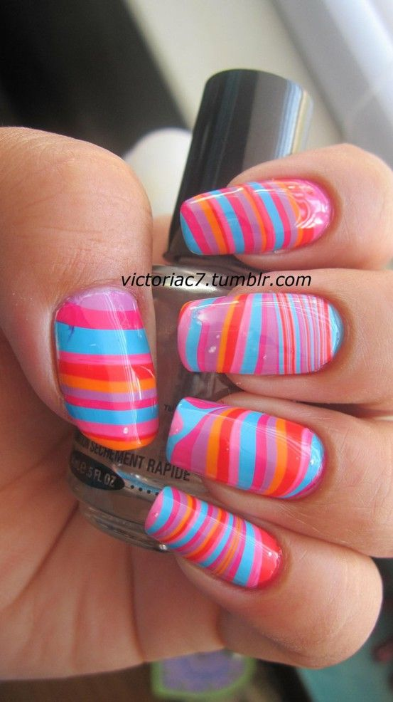 nail nail nail: Nails Art, Nails Design, Nails Colors, Summer Nails, Nails Ideas, Summer Colors, Rainbows Nails, Water Marbles, Marbles Nails