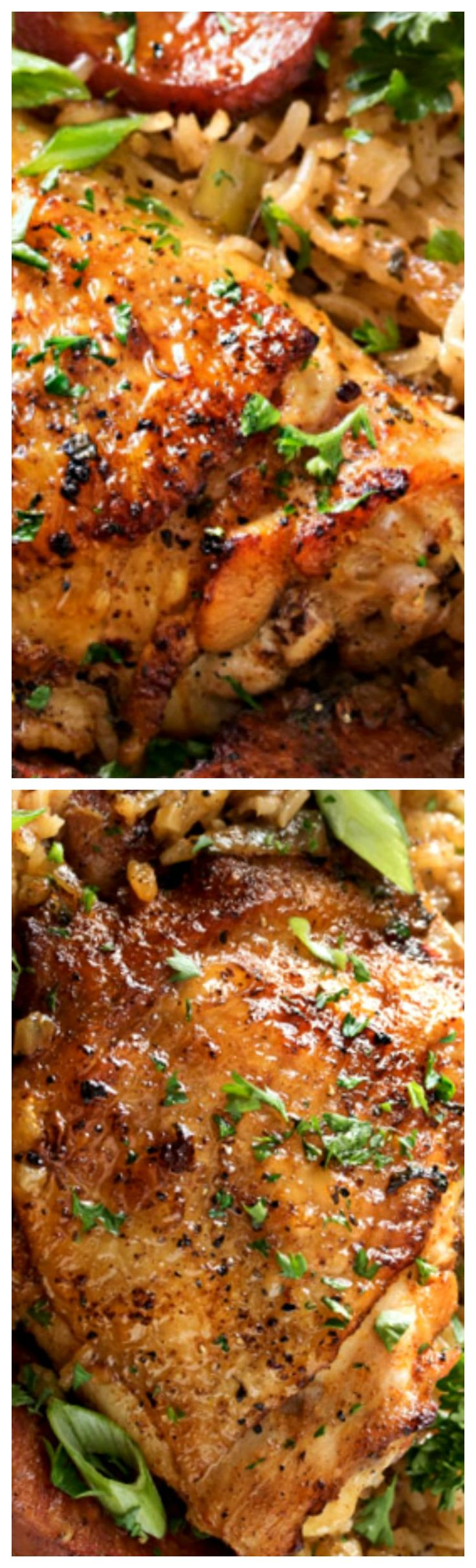 One Pot Chicken and Dirty Rice ~ Amazing Cajun-style flavors collide in this one pot chicken and dirty rice!  The crispy chicken, spicy andouille sausage and fluffy dirty rice… all made from scratch… make each bite a true explosion of flavor!