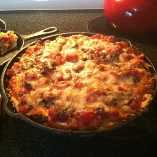 Chicago-style pan pizza. Allrecipes.com This is the one I made. I made my own crust from the site. It Is like Uno's Pizza. This was super easy and I will make it again!
