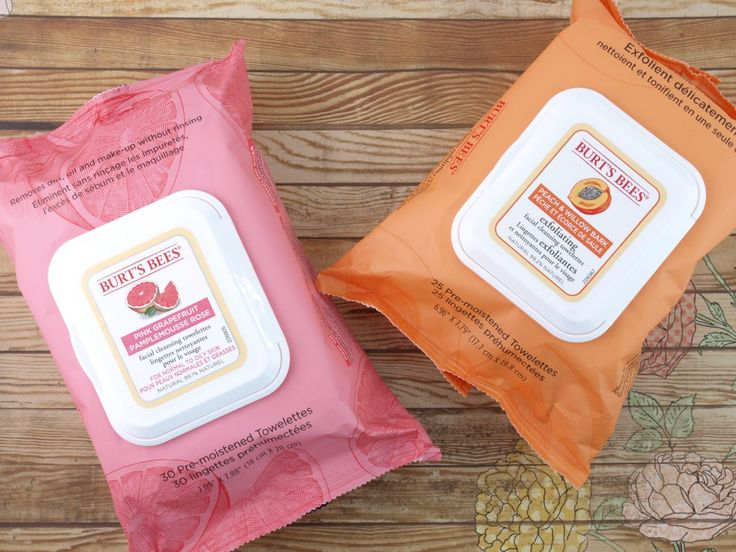 The Happy Sloths: Burt's Bees Pink Grapefruit Facial Towelettes & Peach Willow Bark Exfoliating Facial Towelettes: Review
