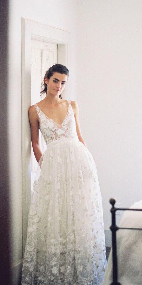boho bridal gowns lace v neck wedding dressses