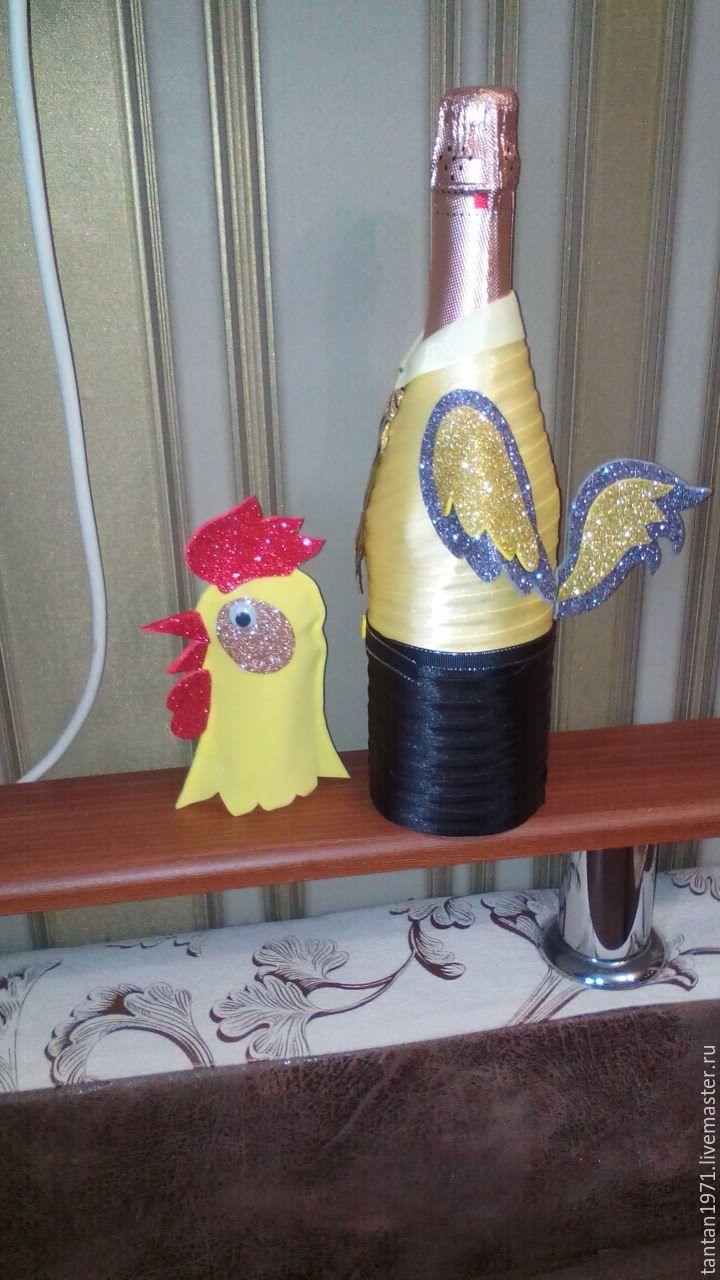 Купить петух символ 2017года - декор для шампанского, оформление бутылок, подарок, новогоднее шампанское