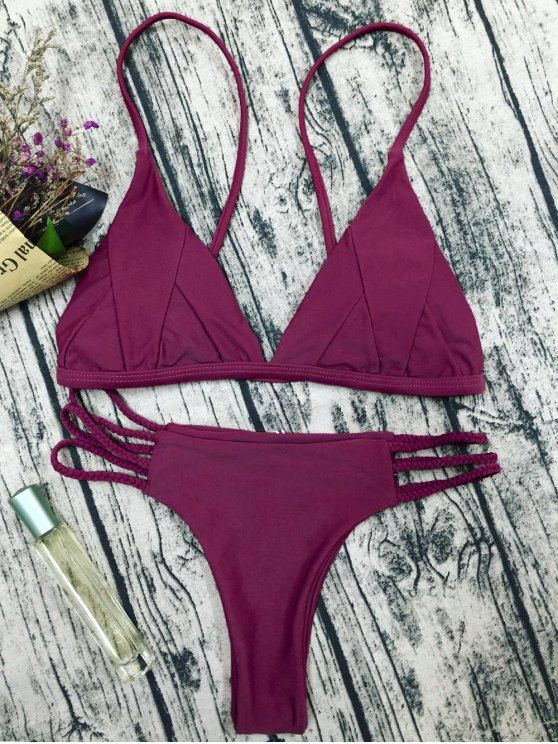$14.99 Padded Cami Bikini Set - PURPLISH RED S
