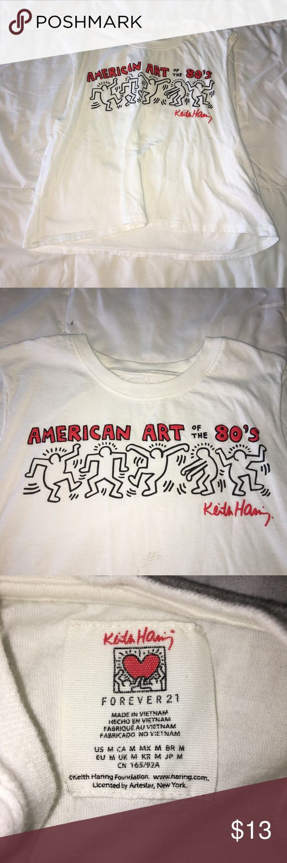 """Keith hating cropped tank Says """"American art of the 80's"""" on the front. Super cute, stylish and comfortable. Size medium, but could easily fit a small as well. Sold out at forever21. Orange bubble letters. (Love, style, Tumblr, hipster, boho, bohemian, grunge, 90's, 80's, 70'S, 60's, 50's, minimalist) Forever 21 Tops Crop Tops"""